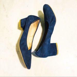 Jeffrey Campbell Bitsie Blue Suede Heels. Size 8